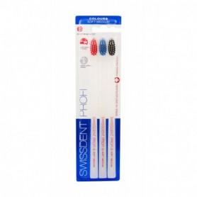 Swissdent Colours Soft Medium Szczoteczka do zębów 3szt Red, Blue, Black