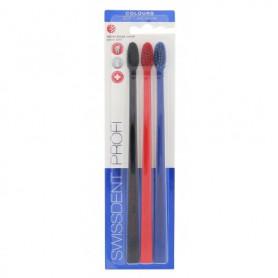 Swissdent Colours Soft Medium Szczoteczka do zębów 3szt Black, Red, Blue