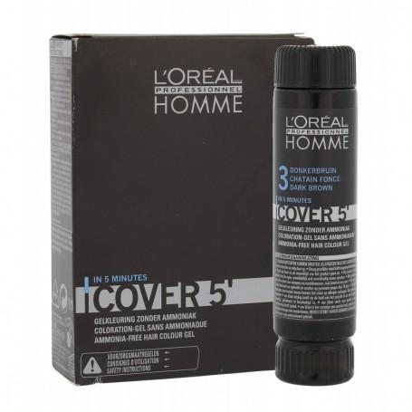 L´Oréal Professionnel Homme Cover 5´ Farba do włosów 3x50ml 3 Dark Brown